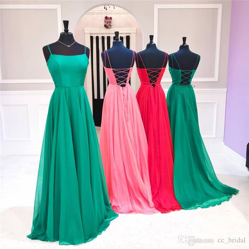 26ca45d70770 Dark Green Chiffon Prom Dresses 2019 Long Sexy Spaghetti Straps Backless  Evening Party Dress Girls Formal Plus Size Gowns Robe De Soiree Prom Dresses  ...