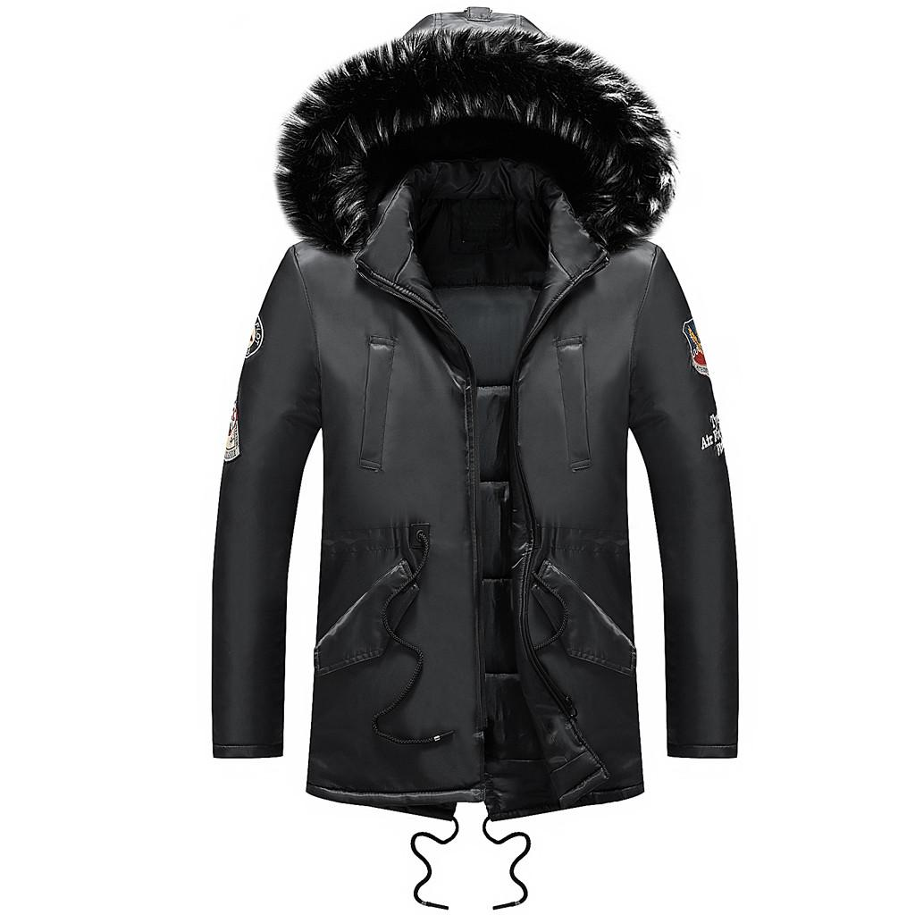 c99bd9f3796 2018 Winter Jacket Men Parkas Men Winter Long Sleeve Pocket Furry ...