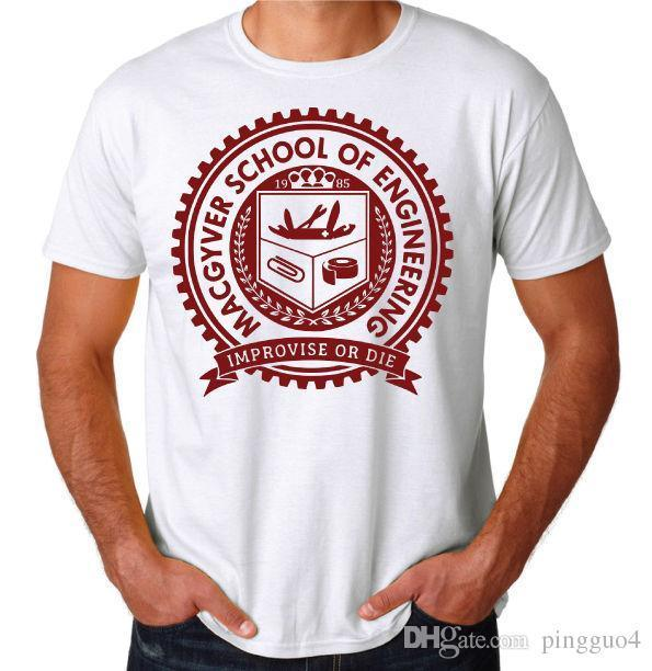 Macgyver School Gadgets Engineering Funny 80's ActionTV Show White T-Shirt Short Sleeve Cotton T Shirts Man Clothing