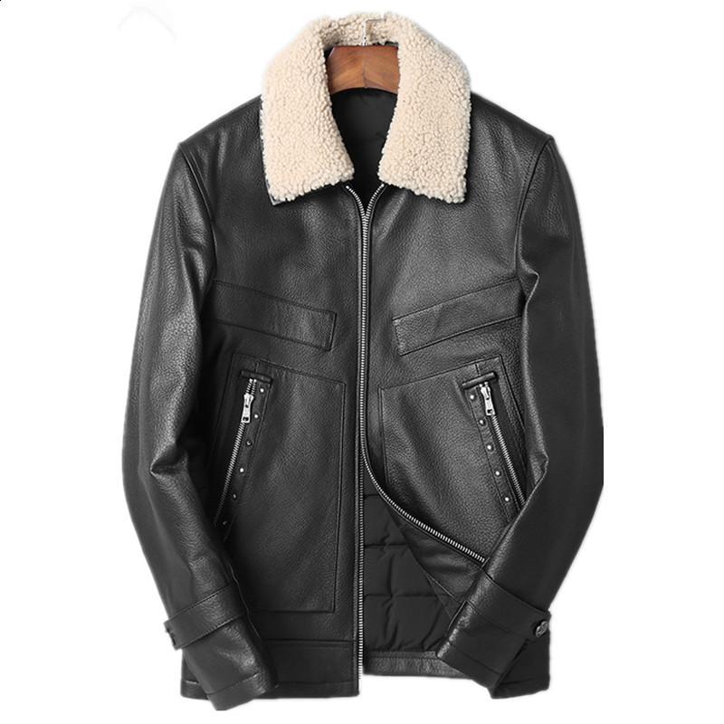 more photos 9dae8 e2611 Giacca in vera pelle giacca invernale uomo vera lana collo di pelliccia  cappotto di pelle di pecora per uomo 90% piumino d anatra giacche veste  homme ...
