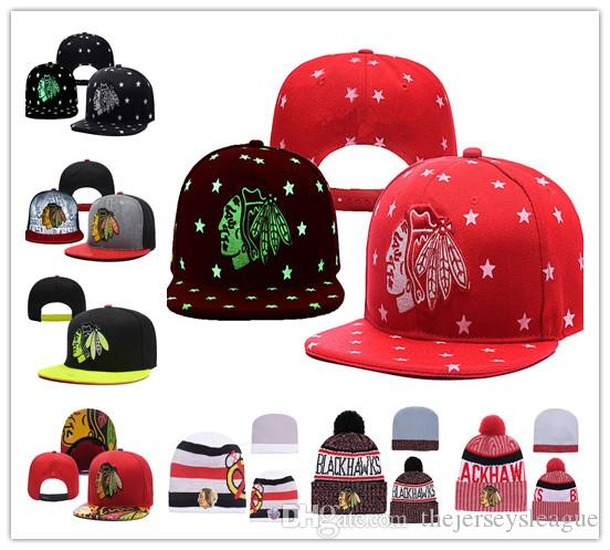 ce07f745f Chicago Blackhawks Ice Hockey Knit Beanies Embroidery Adjustable Hat  Embroidered Snapback Caps Black White Red Gray Stitched Hats
