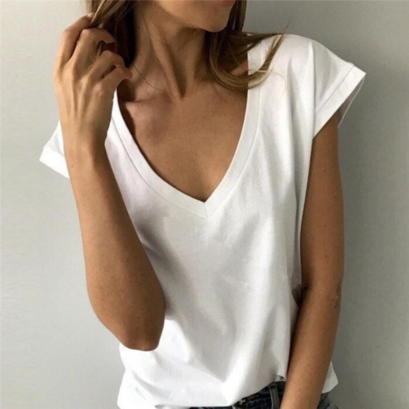 cbbe519ea85 Summer White T Shirt Women Short Sleeve V Neck Loose TShirt Casual Sexy  Black T Shirt Camisetas Feminina Lady Tops