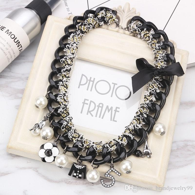 Korea Fashion Number 5 Camellia Flower Pendant Chokers Bowknot Necklace Women Girl Party Jewelry Gift Accessories