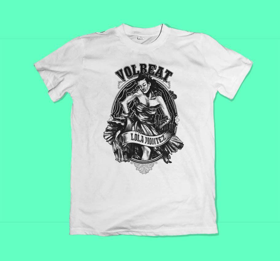 Nova Volbeat Lola Montez Logotipo dos homens Preto Branco T-Shirt Tamanho  XS-3XL