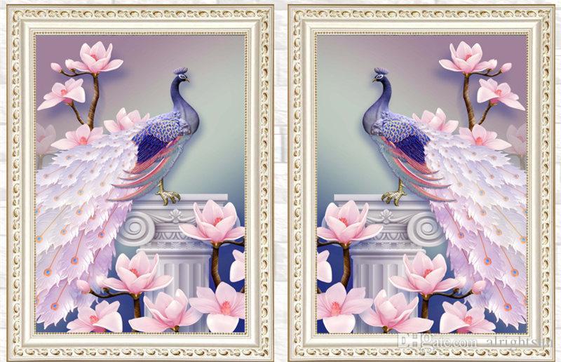 Satın Al Tavuskuşu Hayvanlar çiçekler 5d Diy Elmas Boyama Bölüm Tam