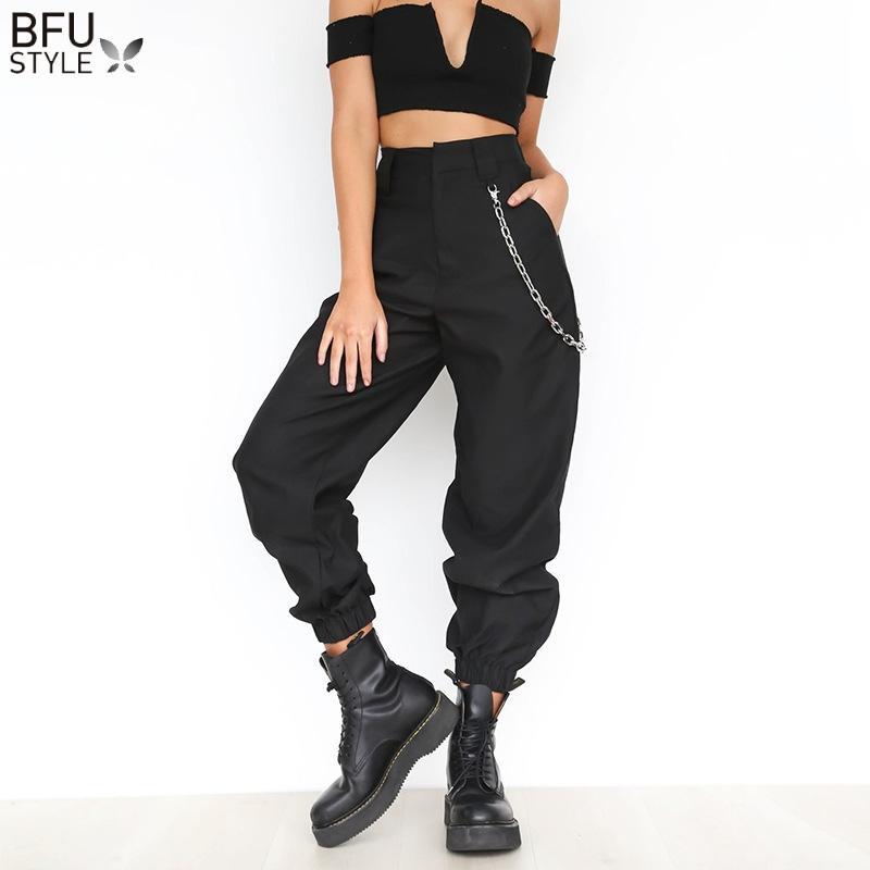 bafe21751d Compre Elegante Cadena Delgada Pantalones Pantalones Harem De Cintura Alta  Mujeres Hip Hop Streetwear Baggy Party Pantalones Bolsillos De Trabajo  Sólido ...