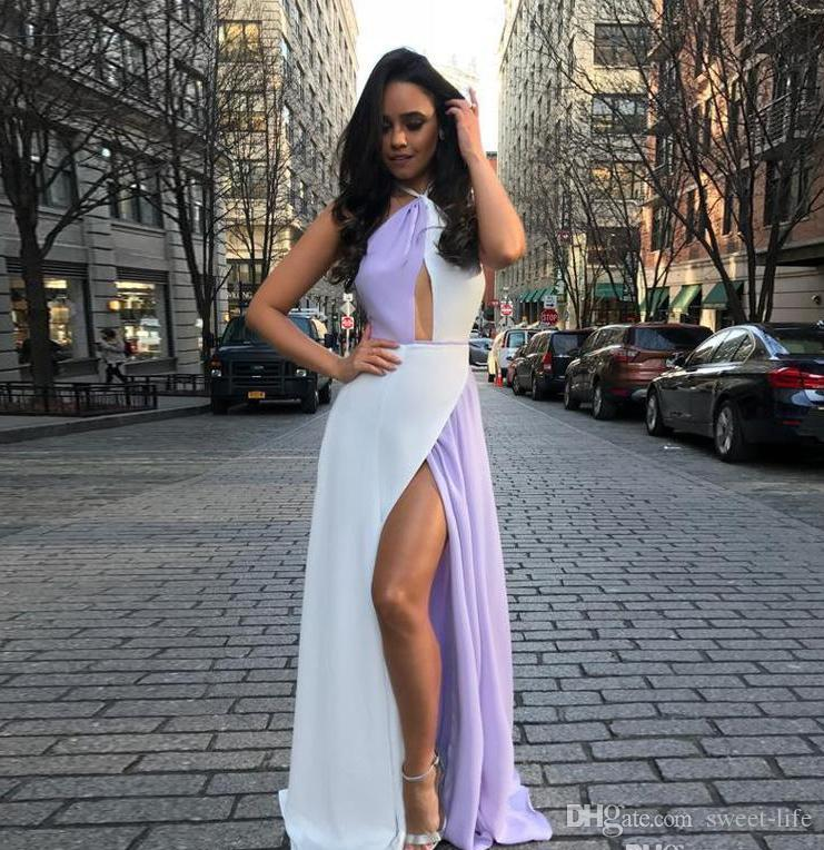 35abe3b33be Fashion A Line Front Side Split White And Purple Prom Dresses Halter  Backless Chiffon Beach Maxi Dress Floor Length Women Casual Gowns Unique  Prom Dresses ...