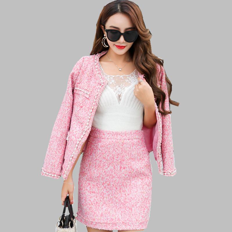 f4c40df0c0 Compre 2018 Diseñador De Marca De Alta Calidad De Invierno 2 Unidades  Establece Tweed Pequeño Viento Fragante Mujeres Rosa Azul Cardigan Coat +  Conjunto De ...