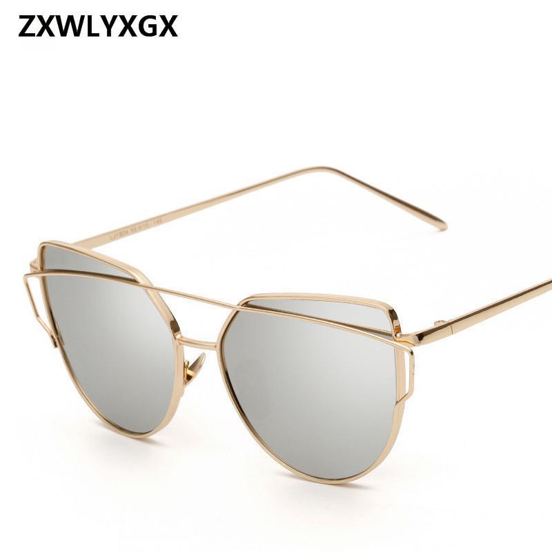 8a77d49b0 Compre 2018 Gafas De Sol De Mujer De Lujo Ojo De Gato Diseño De La Marca  Espejo Rosa Nuevo Oro Vintage Cateye Moda Gafas De Sol Dama Gafas C18122501  A ...
