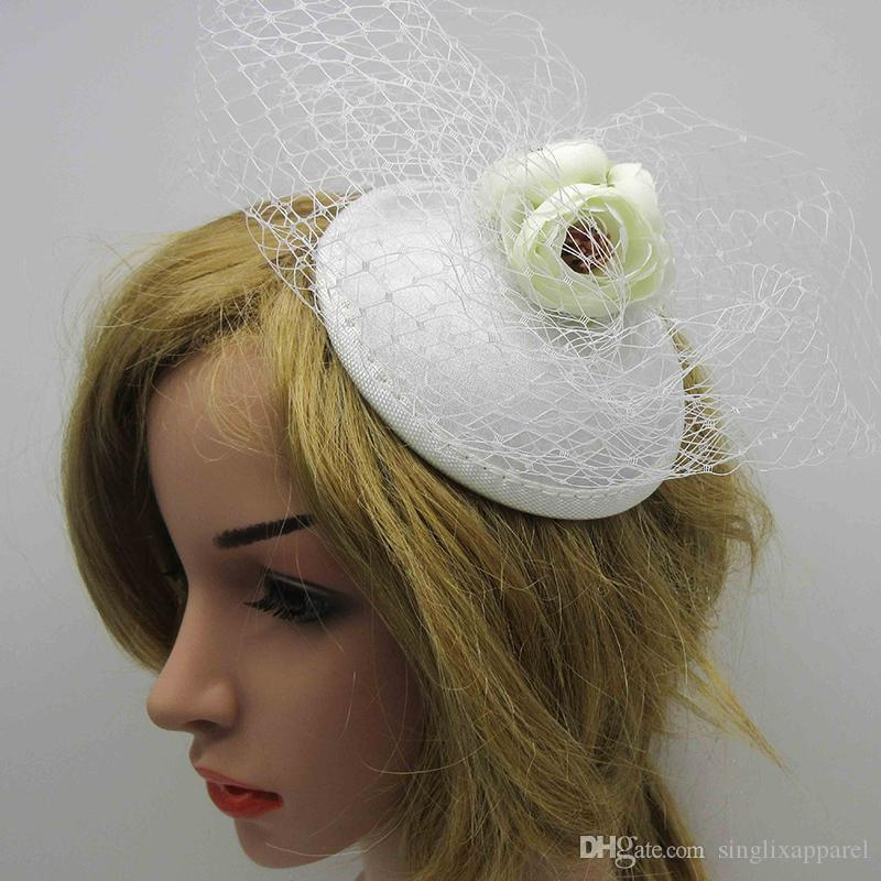 Black/White Netted Fascinator Hat with Ivory Rose Buds Wedding Roses Hair Accessories Hair Clip with Flowers for Bride & Bridesmaid