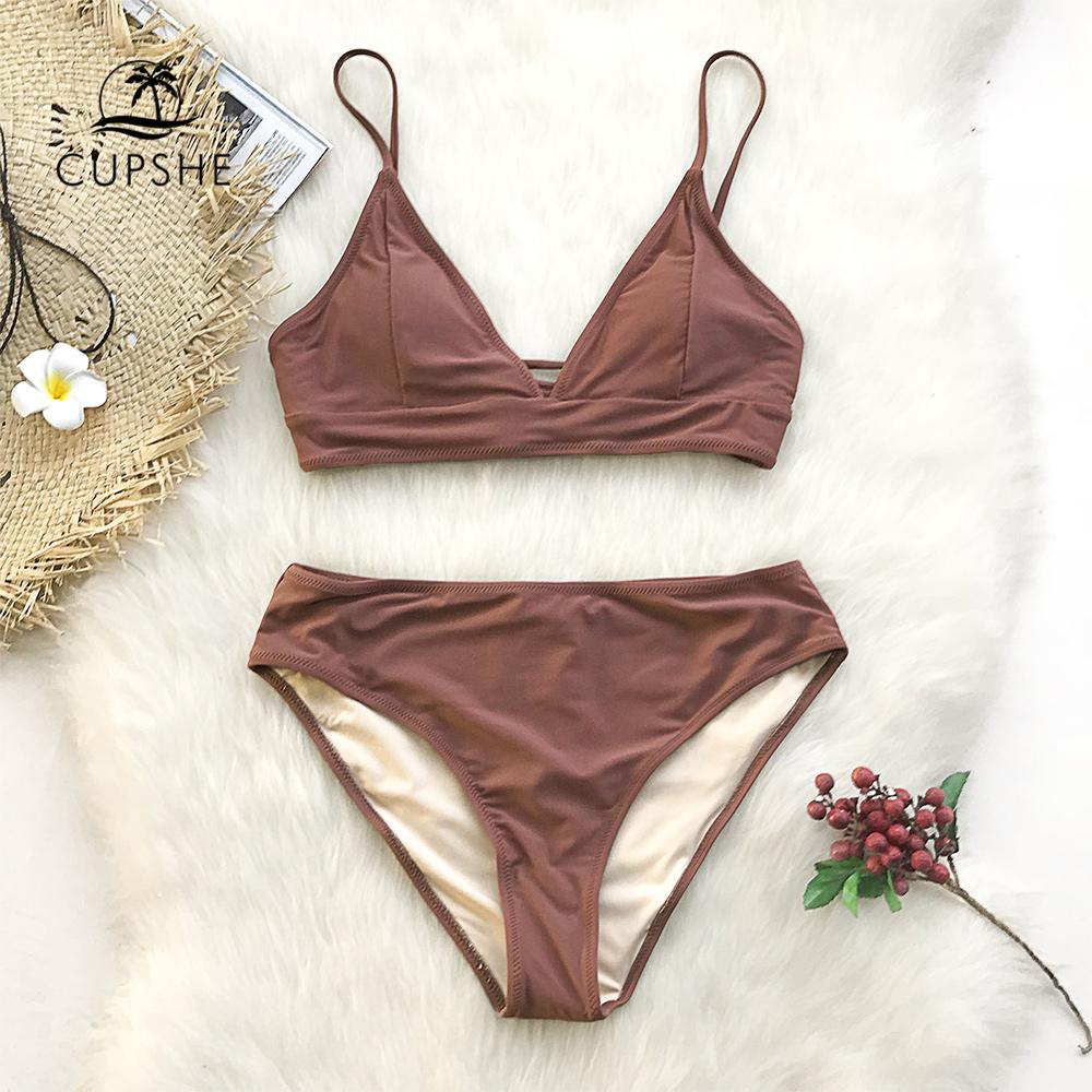 0f9b09311c77d 2019 Cupshe Brown Lace Up Bikini Sets Women Triangle Mid Waist Two ...