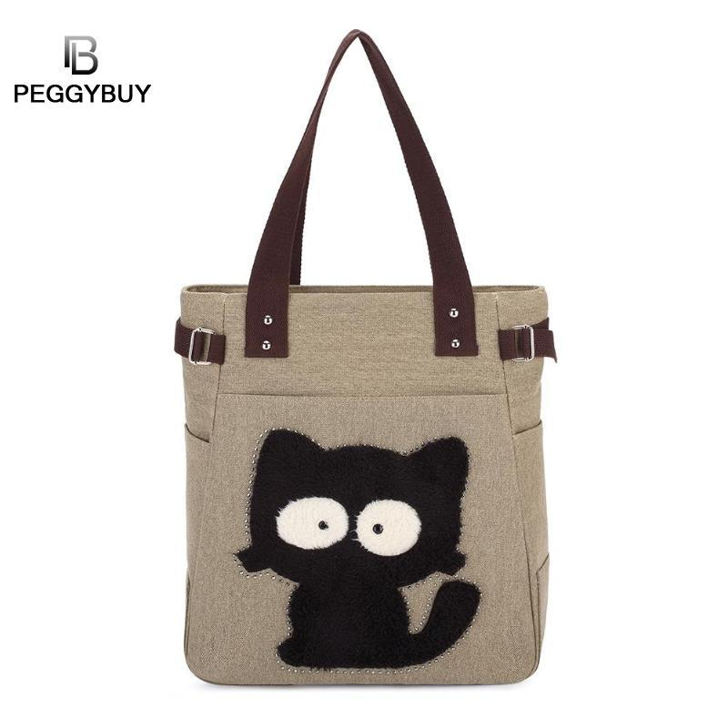 pb Peggybuy Women Cute Cat Pattern Shoulder Handbags New Canvas Large Capacity Totes Top-handle Shopping Bags Bolso de mujer