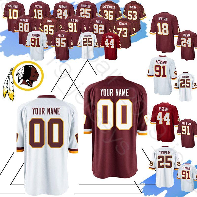 cheap for discount 5ddcc 85e84 Washington Custom Redskins 95 Jonathan Allen jerseys 25 Chris Thompson 24  Norman 36 Swearinger 25 Thompson 7 Theismann 1 Payne jersey