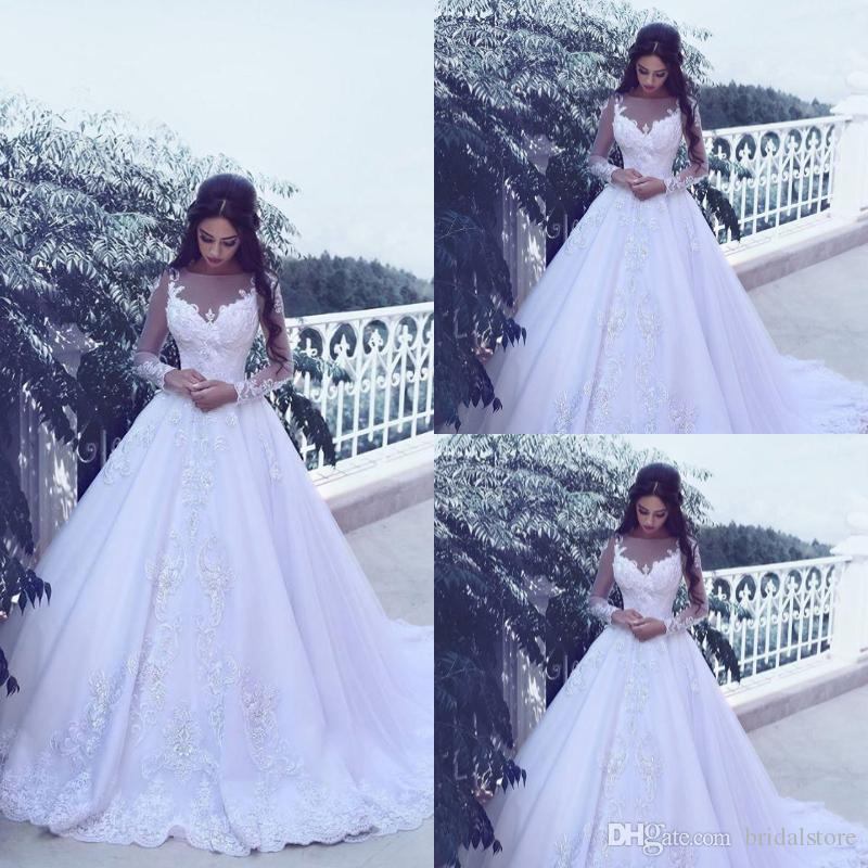Long Sleeves White Lace Country Wedding Dresses Sheer Neck Appliques Puffy  a Line Garden Plus Size Bridal Gowns African Robe De Mariée 2019 Long  Sleeves ... ed1065fd0cd9