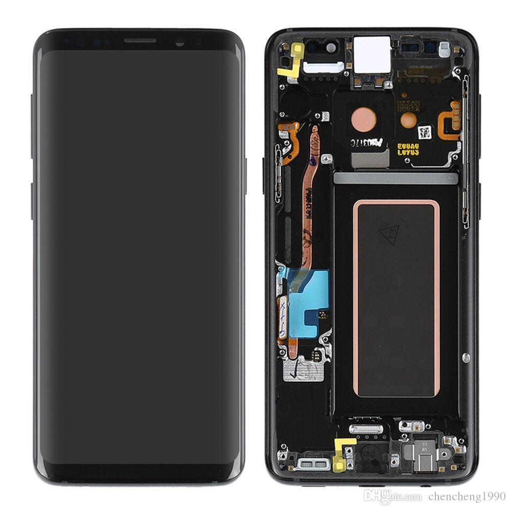 For Samsung Galaxy S9 G960 / S9 Plus G965 Original AMOLED LCD Touch Screen  Digitizer Frame Assembly