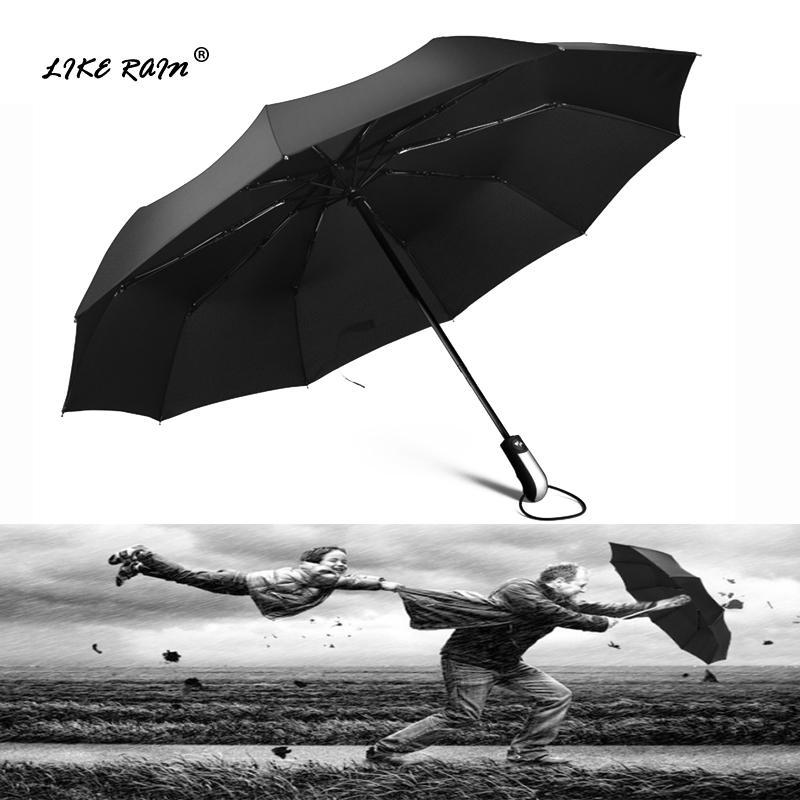 c16b48eb72b1 LIKE RAIN Large Strong Frame Men Umbrella Windproof Travel Three Folding  Umbrellas Rain Women Quality Brand Golf Umbrella UBY10