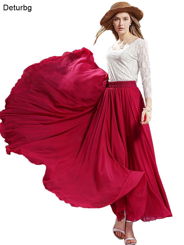 bb8cd31f27 2019 3 Layer Chiffon Long Skirts For Women Elegant Casual High Waist Boho  Style Beach Maxi Skirts Saias 80/90/100cm 2019 Spring Sk273 J190412 From  Babala3, ...