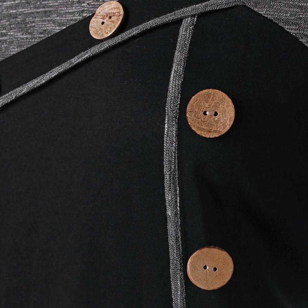 Women's Long Sleeve Plus Size Buttons Embellished Irregular Blouse Tops Irregular hem button long sleeve top