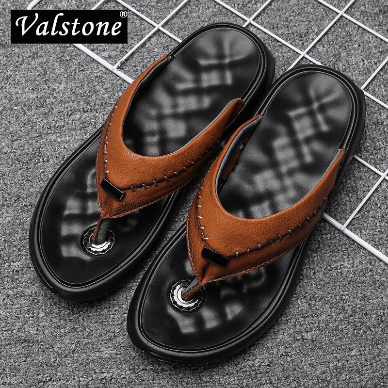 003a8afa94 Infradito in pelle da uomo Valstone 2019 Pantofole da uomo di lusso Sandali  estivi Scarpe cool in microfibra Scarpe da spiaggia eleganti