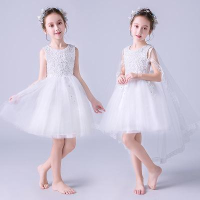 fc43dd41113 European Summer Explosion Flower Girl Sleeveless Lace Embroidery Wedding  Dress   Girl White Lace Applique Sleeveless Birthday Party Dress Girls  Bridesmaid ...