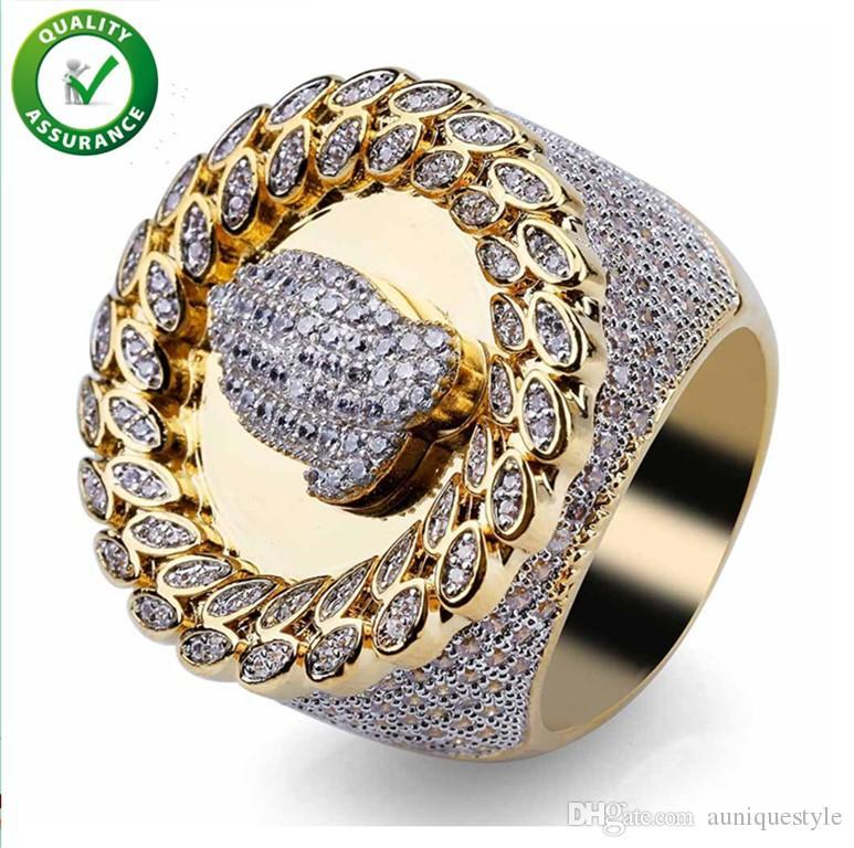 Hip Hop Mens Jewelry Rings Wedding Engagement Love Ring Luxury Designer Gold Rings Diamond Championship Pandora Style Charms Micro Paved CZ