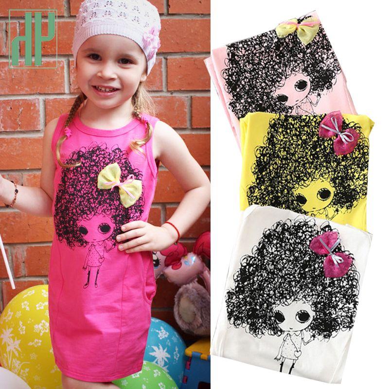 8a687e89e 4-12 años vestidos de niños para niñas Princesa de verano traje de dibujos  animados vestido sin mangas arco adolescentes visten ropa de niños