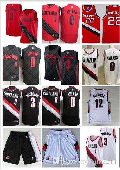1e5ac0596 2019 2018 Men Trail  0 Damian Lillard City Jerseys Embroidery Splice Cheap   3 CJ McCollum All Stitched RipCity Lillard Basketball Jersey Suture From  ...