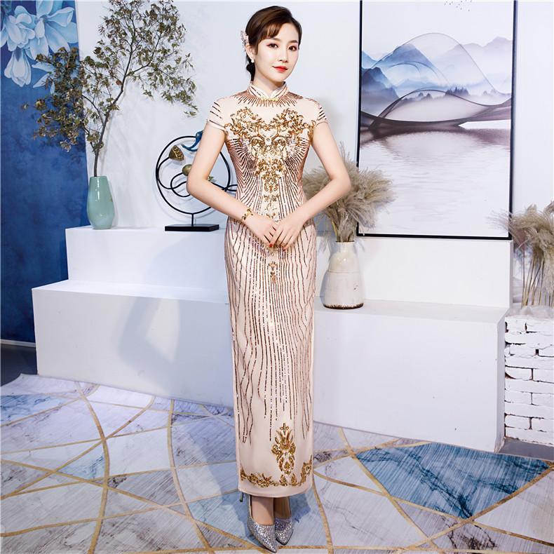 san francisco b91cd 7a0e4 TS253 Nuovo vestito da cerimonia nuziale tradizionale cinese tradizionale  di 6Colors Vestito lungo dal Cheongsam delle donne Qipao elegante vestito  ...