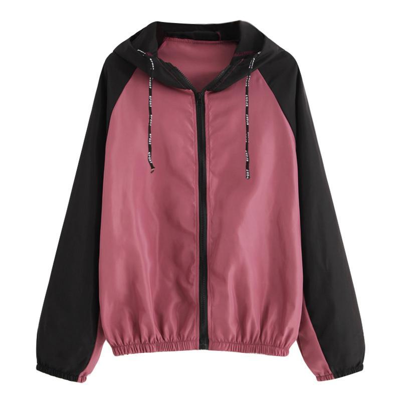 cheaper 6e734 85ebe Cappotto donna con cappuccio color block manica lunga raglan con cerniera  giacca outdoor giacca a vento casual autunno inverno cappotti e giacche ...