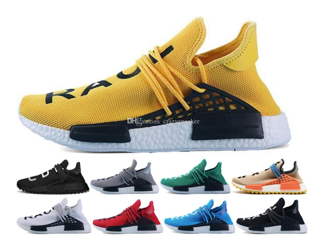 d097ae805d2af 2019 Human Race Shoes Hu Trail Pharrell Williams Men Running Shoes Nerd  Black Blue Women Men Trainers Fashion Sports Runner Sneakers 36 45 Boys  Running ...