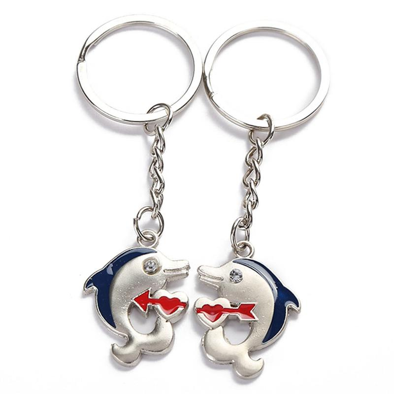 6822646a8f6 1Pair Couple Keychain dolphin Key Ring Silver Plated Lovers Love Key Chain  Souvenirs Valentine s Day gift
