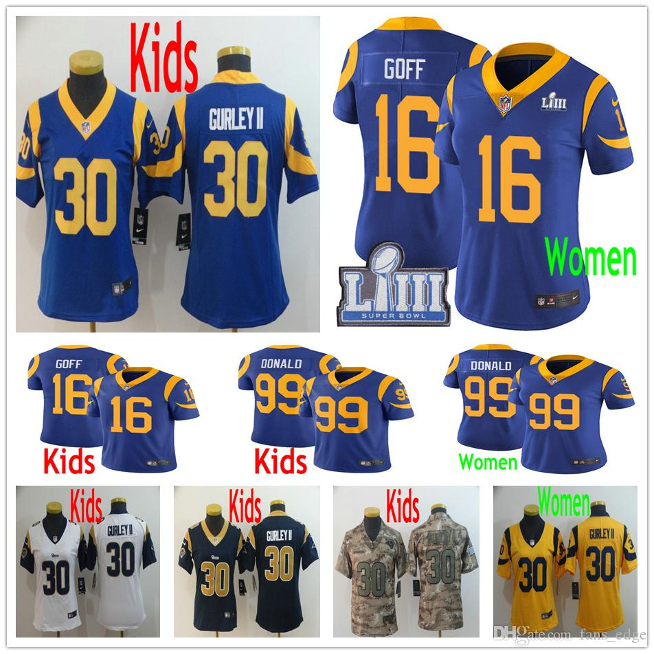 huge discount fee0c 42f6c Kids Youth Woman Los Angeles 16 Jared Goff Jersey 99 Aaron Donald 30 Todd  Gurley II Rams 2019 Super Bowl LIII Children Girls Women Jerseys