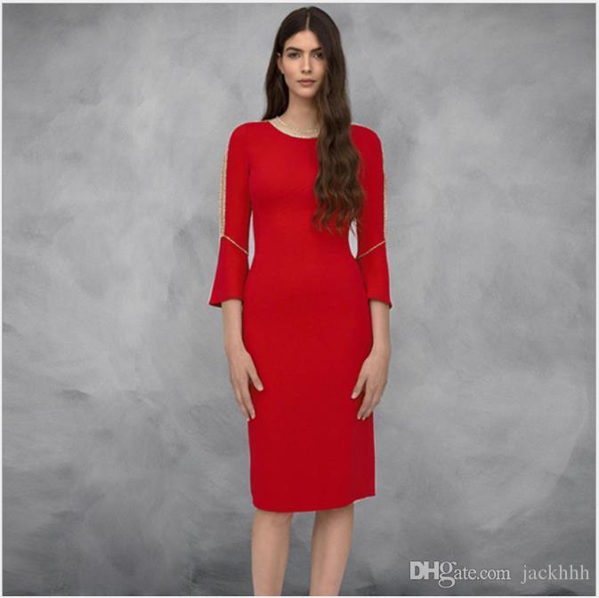 f575f05d507 Compre Elegante Diseñador De La Marca De Moda De Verano 2019 Vestido  Abalorios Manga Flare Ropa De Mujer Buena Calidad Vestido De Cóctel Rojo  G8381 A $75.38 ...