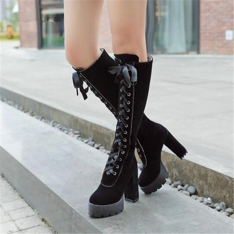bad1c8b99ce3 PXELENA Punk Gothic Knee High Knight Martin Boots Women Shoe Chunky Block  Thick High Heel Motorcycle Riding Combat Boots Lace Up Ariat Boots Work  Boots From ...