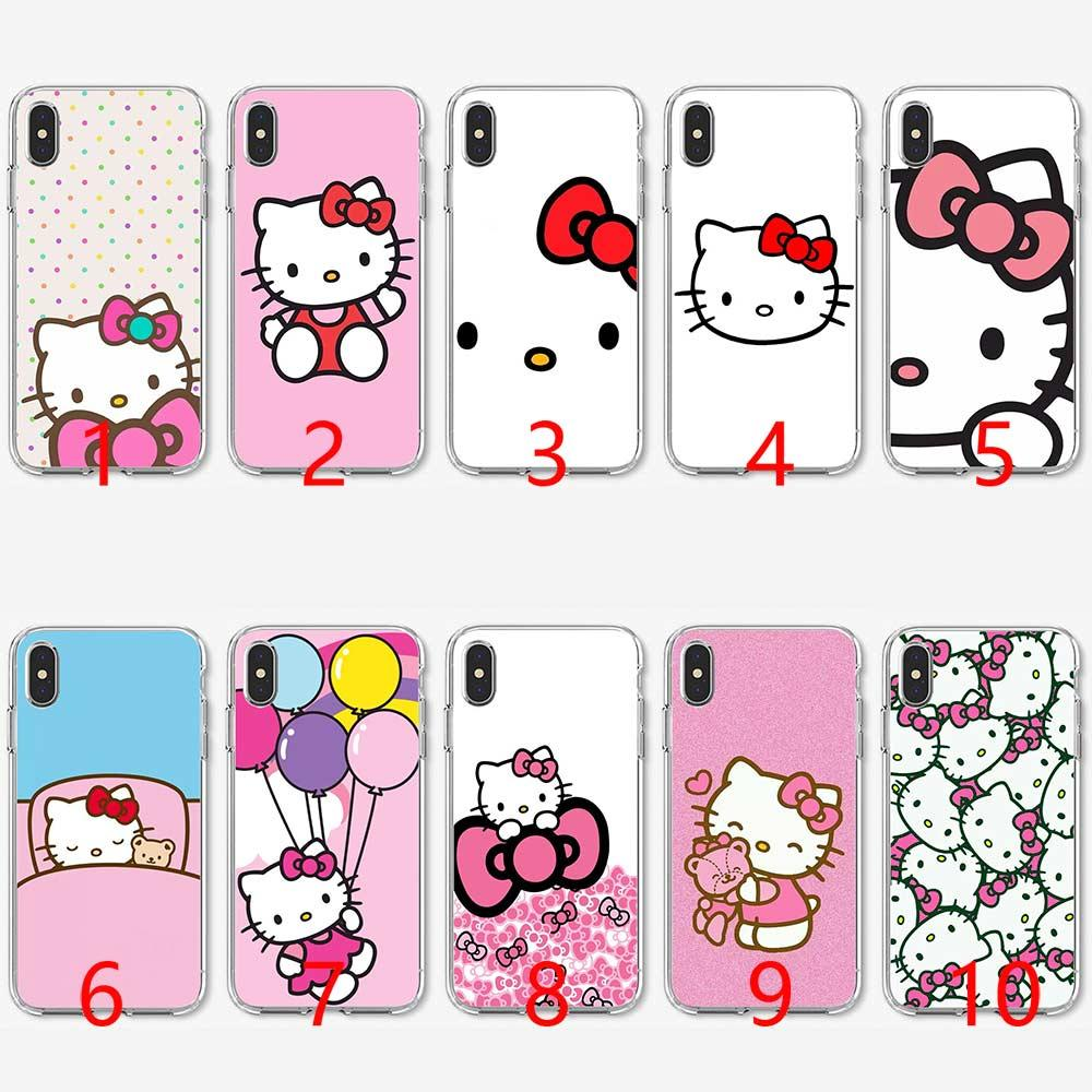 cheap for discount 10493 14280 Hello Kitty Soft Silicone TPU Phone Case for iPhone 5 5S SE 6 6S 7 8 Plus X  XR XS Max Cover
