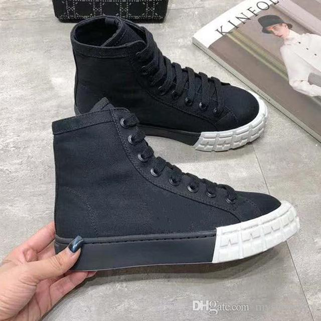 top grade gabardine high top sneakers casual shoes tire tread rubber sole calf leather liner designer shoes size 35 to 40