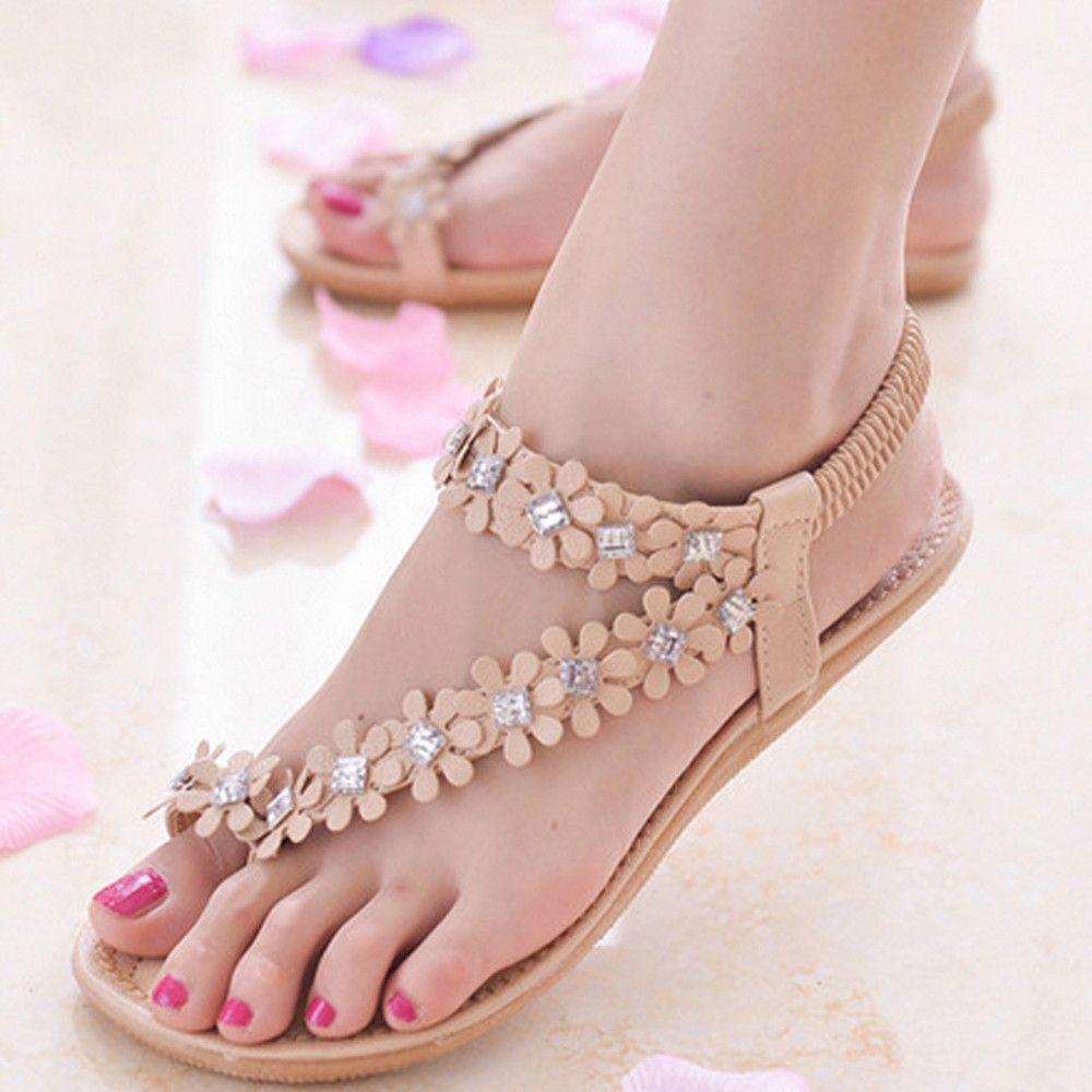 44de99a93166 YOUYEDIAN Women Sandals 2019 Bohemia Flat Sandals Women Shoes Floral Summer  Casual Beach Shoes Flip Flops Heels Gladiator Sandals From Trendone