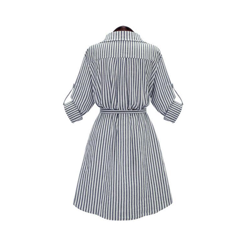 Autumn Winter Women Shirt Dress Lady Long Sleeve Stripe Bodycon Party Dresses Cotton Blends Plus Size Casual Style
