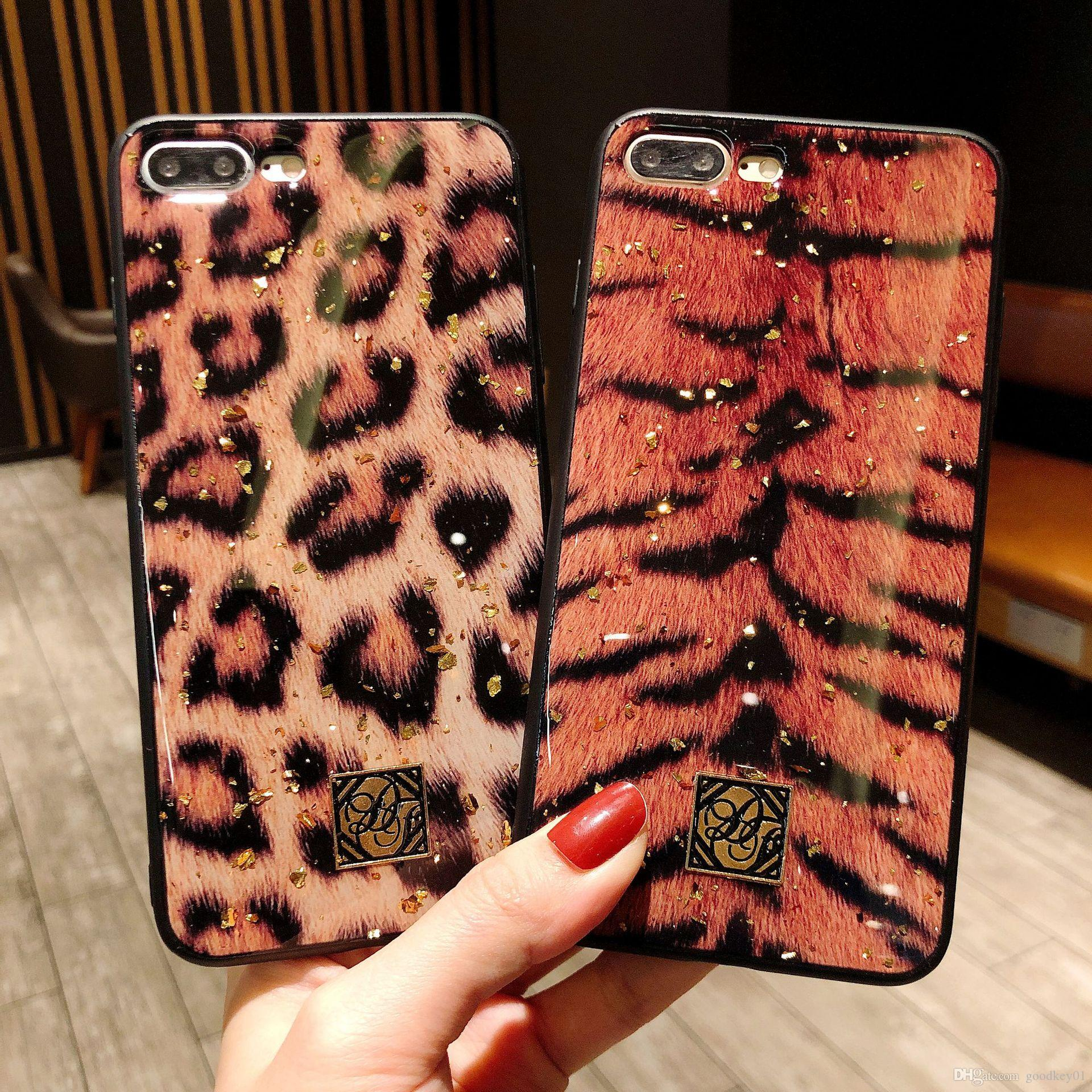 reputable site f19f2 798ba For iphoneXs Xsmax xr iPhone 7 plus 6S plus 8 8plus X Fashion Tiger Leopard  Print Panther Soft Phone Case Glitter Mobile Cover