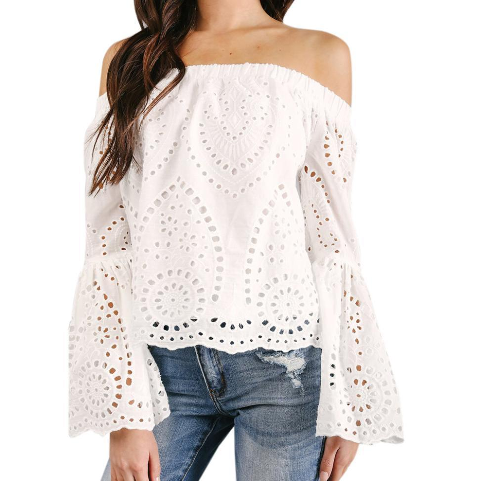 b5af414062f Women White Lace Blouse Off The Shoulder Long Sleeve Hollow Out Loose Tops  Flare Sleeve Shirt Blusa Feminina  BF Online with  42.15 Piece on  Illusory10 s ...