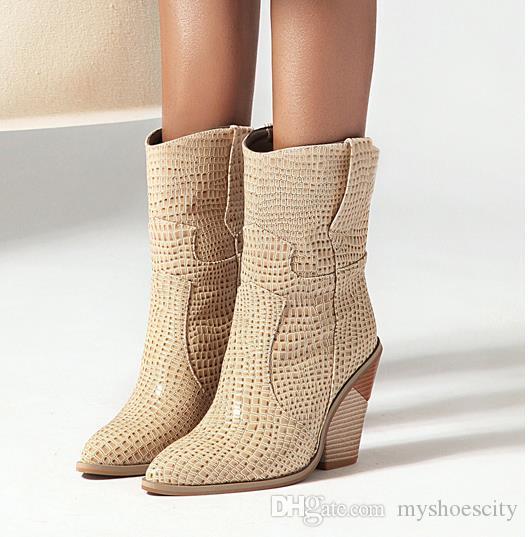 kutu bordo kovboy çizmeleri kadın tasarımcı patik ile artı boyutu 33-44 45 46 PU deri tıknaz topuk kabartmalı