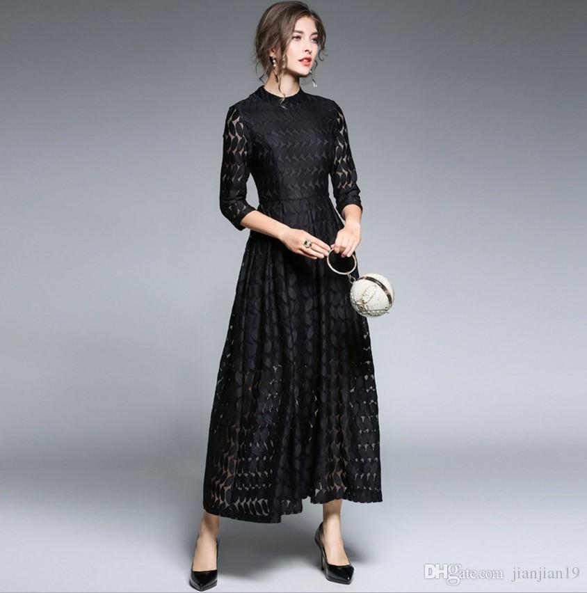 cb5d98210e European and American women s new style tide stand collar cropped sleeves  lace dress long skirt black early spring new dress