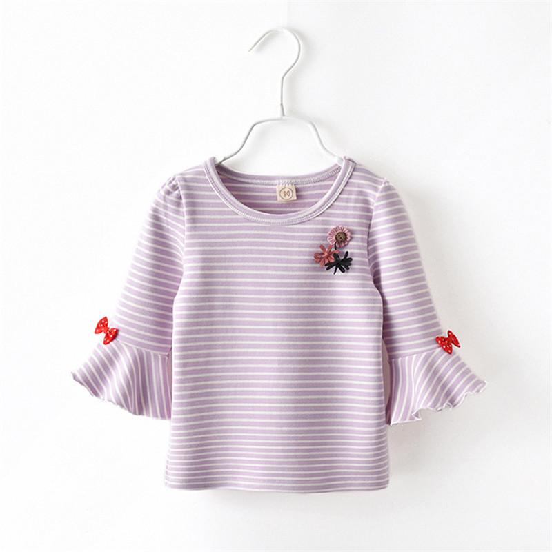 quality summer spring girls t-shirt cotton striped tops fashion ruffles sleeve tops children birthday party clothes casual tops