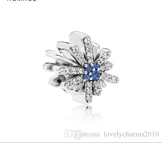4cb5f6d09 2019 Fits Pandora Bracelets Blue Crystal Snowflakes Silver Charms Bead  Charm Beads For Wholesale Diy European Sterling Necklace Jewelry From ...