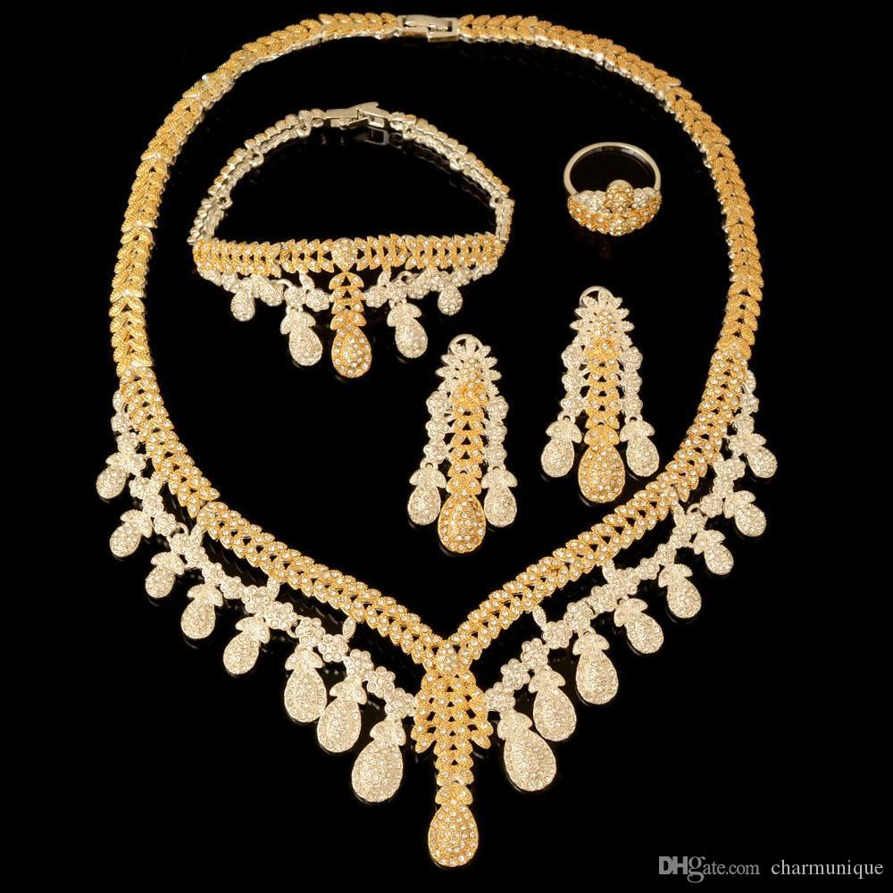 2019 Fashion Ethnic Boho Jewelry Set Gold Silver Color Nigerian Bridal Wedding Bijoux African Beads Jewellery Sets Parure Femme
