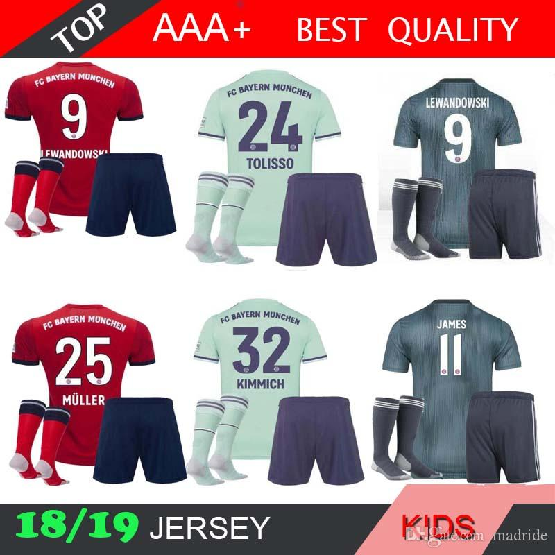 new concept 35a04 d8891 james MULLER Bayern Munich KIDS kit 18 19 Soccer jersey SOCKS home 2018  2019 VIDAL third LEWANDOWSKI ROBBEN TOLISSO away 3rd KIT