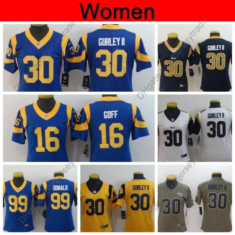 best cheap 0acaa 0b597 Womens Los Angeles Ladies Rams 30 Todd Gurley II Jersey 99 Aaron Donald  Jerseys 16 Jared Goff Football Jersey Blue Girls Stitfched S-XXL