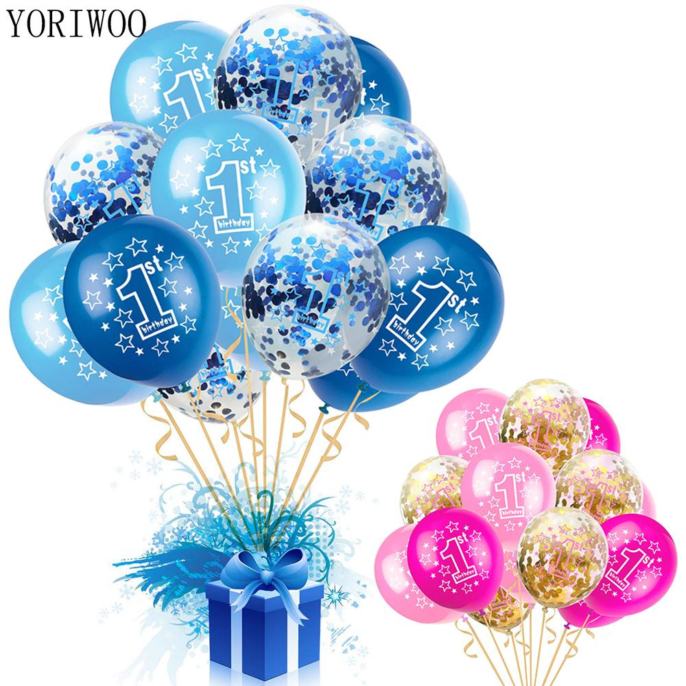 YORIWOO Baby Shower Boy Girl Latex Balloons Confetti Set 1st Birthday Party Decoration Kids Happy Balloon 1 Year C18112301 Cheap Themes