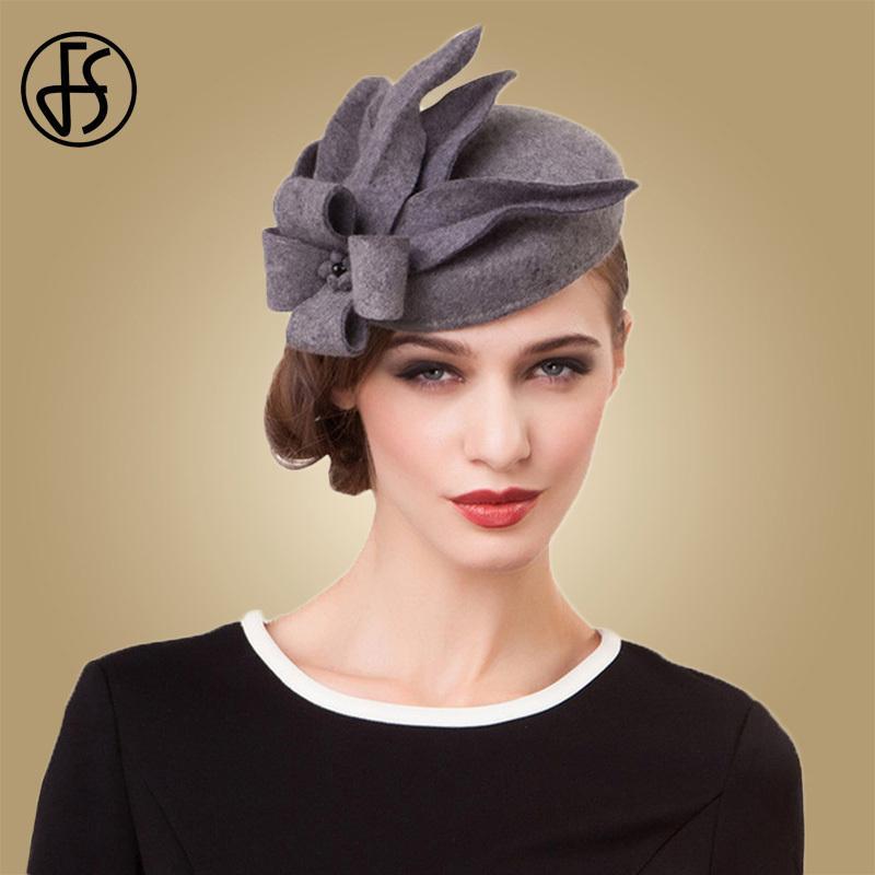 8c19d32a2222 FS Flower Fascinators For Women Elegant Grey Black Pillbox Hat Wool Wedding  Felt Hats Vintage Ladies Winter Dress Fedoras D19011102 Church Hats Vintage  Hats ...
