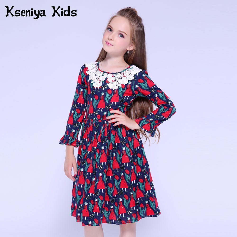 6a6a52d09 Compre Kseniya Kids Girls Vestido De Manga Larga De Impresión De Pétalos De  Algodón Niñas Vestido De Graduación Para El Vestido De Encaje De Niña  Princesa ...